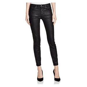 Current Elliot coated black skinny ankle jeans